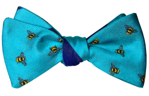 Beehive Bow Ties Teal with Signature Yellow Bee and Teal and Navy Blue Broad Stripe – Reversible Bow Tie